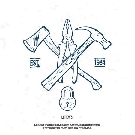 logotipo de construccion: Herramientas de carpintería de la vendimia, etiquetas y elementos de diseño de ilustración vectorial. grunge en la capa separada Vectores