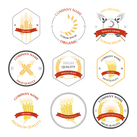 rye: Ears of wheat and rye set labels, badges and design elements. Vector illustration