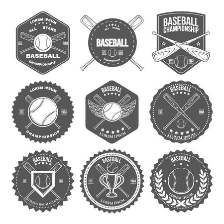 bate: Conjunto de etiquetas de béisbol del vintage e insignias. Ilustración vectorial Vectores