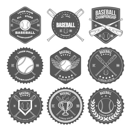 Set of vintage baseball labels and badges. Vector illustration Иллюстрация