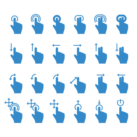 Hand Touch Icons Move Rotate Zoom. Vector illustration Ilustrace