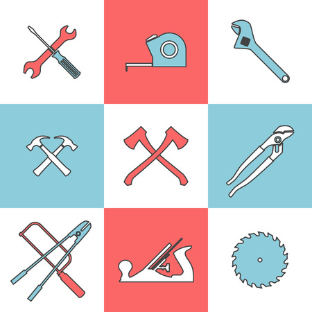 handtools: Flat line icons set of handtools axe saw hummer pliers wrench. Flat design style modern vector illustration