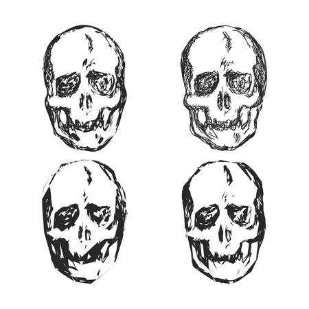 halloween tee shirt: Set of Skulls isolated on white background vector illustration Illustration