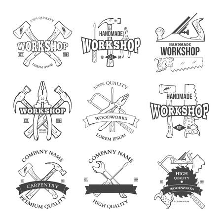 carpentry tools: Vintage carpentry tools, labels and design elements vector illustration