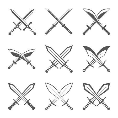 cavalry: Set of heraldic swords and sabres for heraldry design vector illustration Illustration