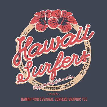 Hawaii surfers. t-shirt graphic. Vector illustration
