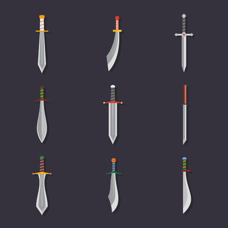 daggers: Swords knives daggers sharp blades flat icon set isolated vector illustration Illustration