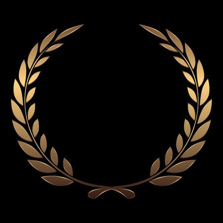 premios: Coronas de premio de oro del vector, laurel sobre fondo negro ilustraci�n vectorial