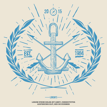 anchor drawing: Vintage Hipster Logo Crossed Arrows with Anchor Vector illustration