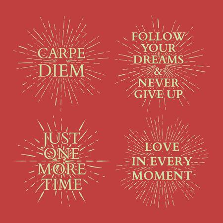 love life: Motivational quotes on sun burst. T-shirt print. vector illustration Illustration