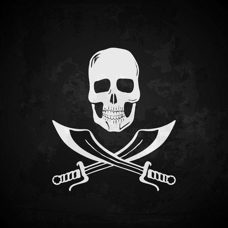 grunge layer: Pirate flag vector illustration. Grunge effect on separate layer Illustration