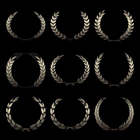 Coronas de premio de oro del vector, laurel sobre fondo negro ilustración