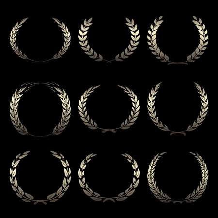 Vector gold award wreaths, laurel on black background illustration Stock Illustratie