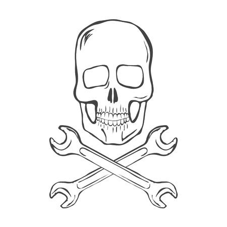 skull and crossed bones: Dibujar a mano Cr�neo con las llaves cruzadas sobre fondo blanco ilustraci�n vectorial Vectores