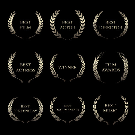 famous actress: Vector Film Awards, award wreaths on black background