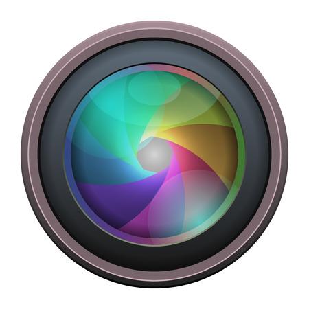 telephoto: Photo Lens isolated on white background. Vector illustration