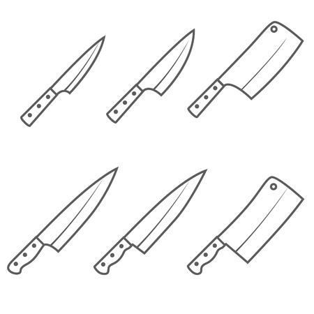 Set of six kitchen knives vector illustration