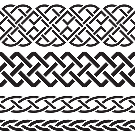 knots: Set of Celtic Pattern Borders vector illustration