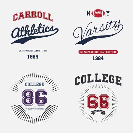 varsity: Varsity College Print Colltection T-shirt Vector Illustration Illustration