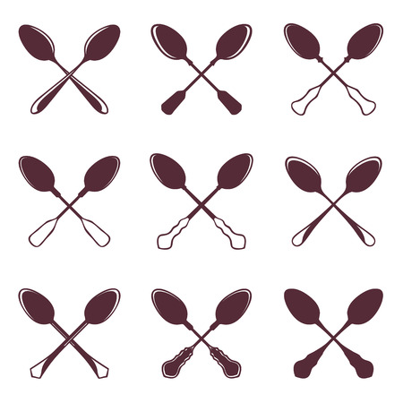 silver ware: Set of crossed tablespoons isolated on white vector illustration