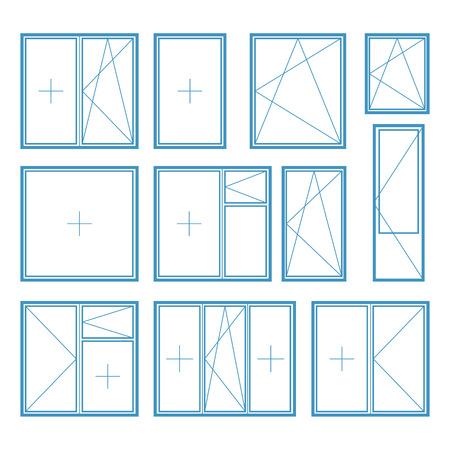 plastic window: Set of plastic window frame symbol Vector Illustration