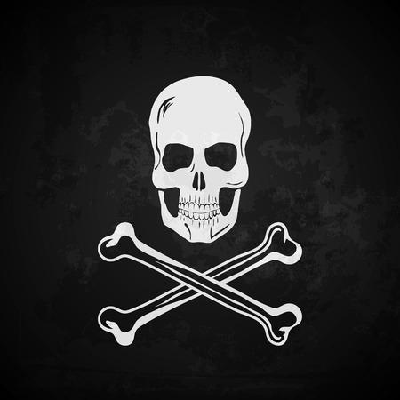 skull with crossed bones: Pirate flag vector illustration. Grunge effect on separate layer Illustration