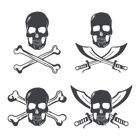 skull with crossed bones: Pirate flag Design Elements. Skull with bones and swords vector illustration