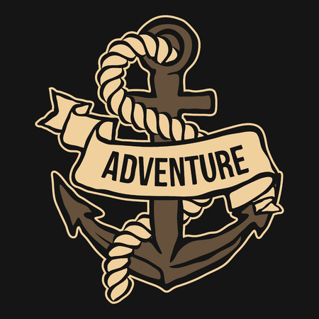 iron ribbon: Anchor with Banner and rope. Adventure Vector illustration Illustration