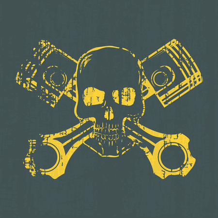 Skull and Pistons. t-shirt graphic. Vector Illustration