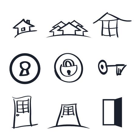 realestate: Set of nine realestate logos vector illustration