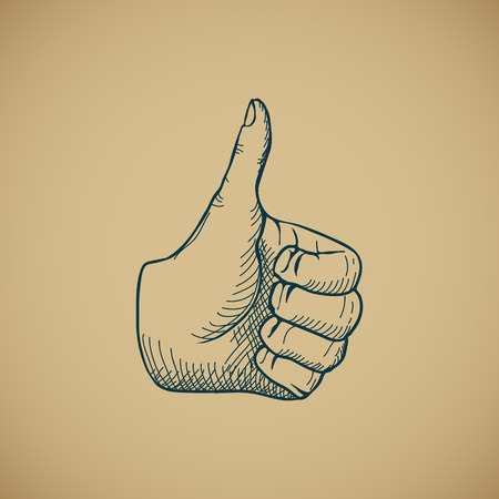 career up: Hand draw sketch vintage thumbs up vector illustration