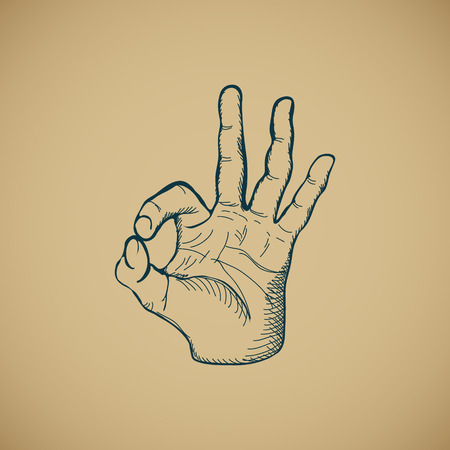 index finger: Hand draw sketch vintage okay hand sign vector illustration