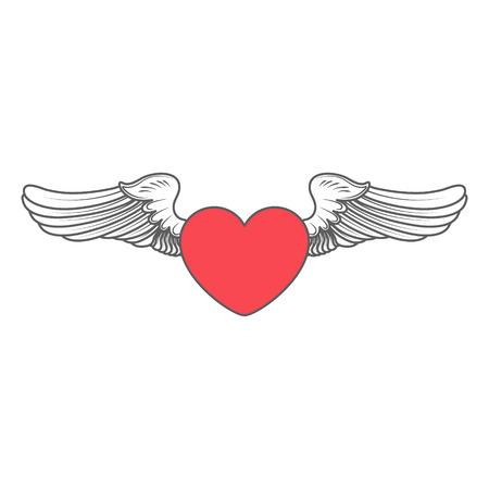 chastity: heart angel isolated on white vector illustration Illustration