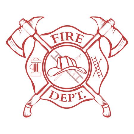 Fire Dept. Label. Helmet with Crossed Axes. Vector Illustration