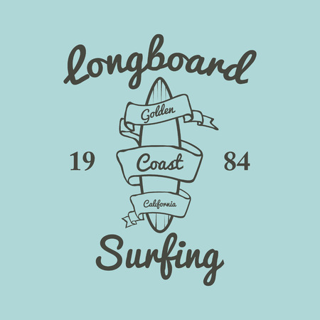 malibu: Longboard surfing typography, t-shirt graphics, vectors illustration Illustration