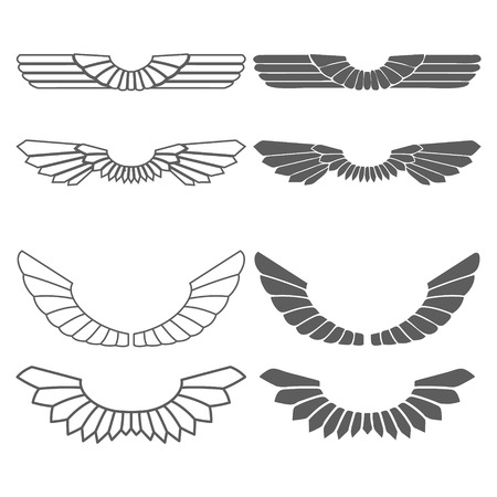 heart and wings: Set of wings isolated on white vector illustration