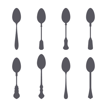 silver ware: Set of spoon silhouette isolated vector illustration