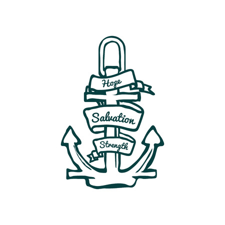 iron ribbon: Anchor with Banner. Hope, Salvation and Strength. Vector Illustration