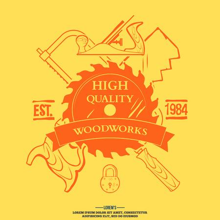 herramientas carpinteria: Herramientas de carpinter�a del vintage, etiquetas y elementos de dise�o de ilustraci�n vectorial