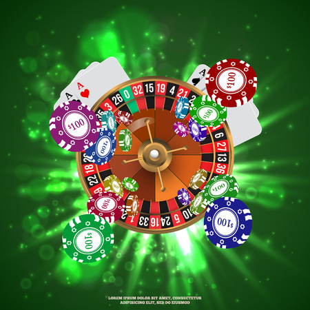 Casino Roulette Playing Cards witn Falling Chips. Vector illustration