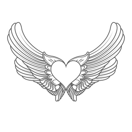 seducer: heart angel isolated on white vector illustration Illustration