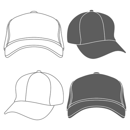 Baseball Cap Outline Silhouette Template isolated on white. Vector illustration