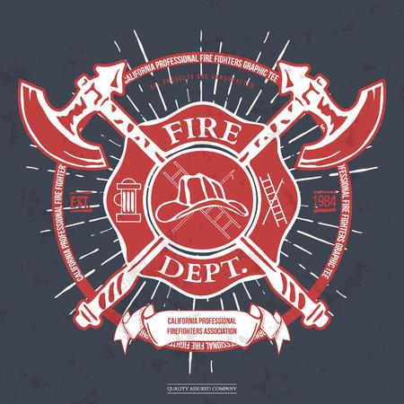 bombero de rojo: Departamento de Bomberos de la etiqueta. Casco con hachas cruzadas gr�ficos de la camiseta. Ilustraci�n vectorial