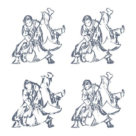 Hand Drawn Judo Throw Isolated Vector Illustration Illustration