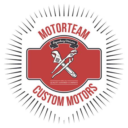 badge icon: Motorteam Custom motors T-shirt graphic Vector illustration