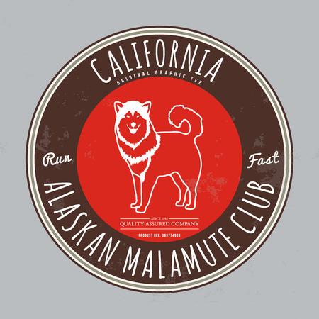 alaskabo: Alaskan malamute club. California Tee graphic. Vector. Grunge effect on separate layer Illustration