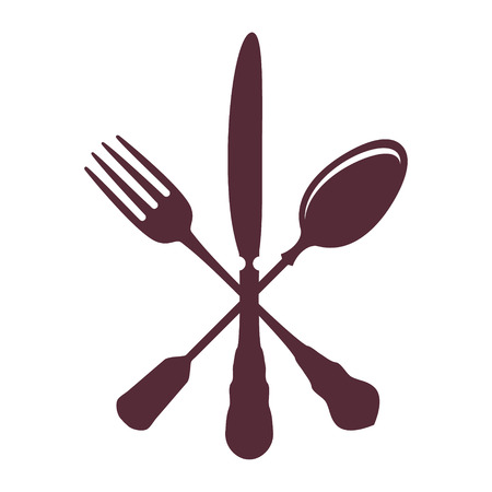 silver ware: Crossed Spoon with Fork and knife isolated on white Background vector illustration