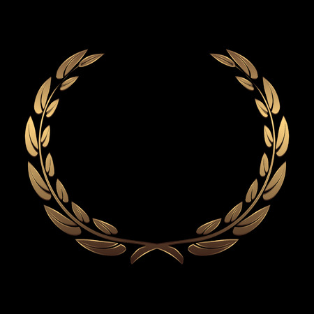 Vector gold award wreaths, laurel on black background vector illustration 矢量图像