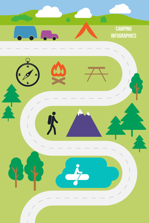 Camping outdoor infographics flat style vector illustration