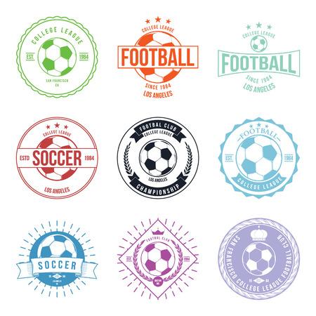 Fútbol Fútbol Tipografía Diseño de la insignia del vector Elemento